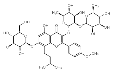3-[(2S,3R,4R,5R,6S)-4,5-dihydroxy-6-methyl-3-[(2S,3R,4R,5R,6S)-3,4,5-trihydroxy-6-methyloxan-2-yl]oxyoxan-2-yl]oxy-5-hydroxy-2-(4-methoxyphenyl)-8-(3-methylbut-2-enyl)-7-[(2S,3R,4S,5S,6R)-3,4,5-trihydroxy-6-(hydroxymethyl)oxan-2-yl]oxychromen-4-one